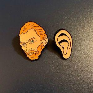 Vincent Van Gogh and ear pin set